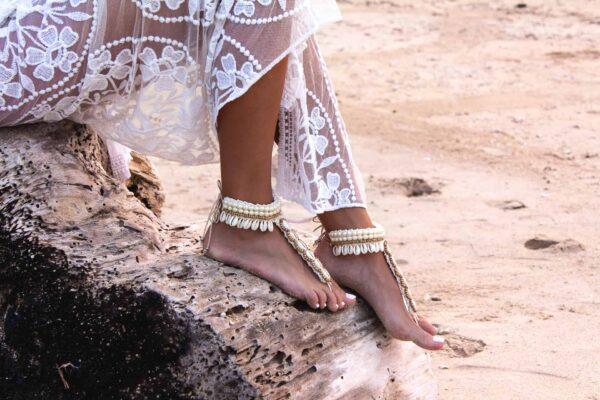 Damska ozdoba na stopę handmade w stylu boho