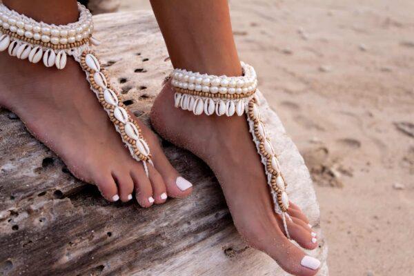 Ręcznie robiona bransoletka na stopę w stylu boho