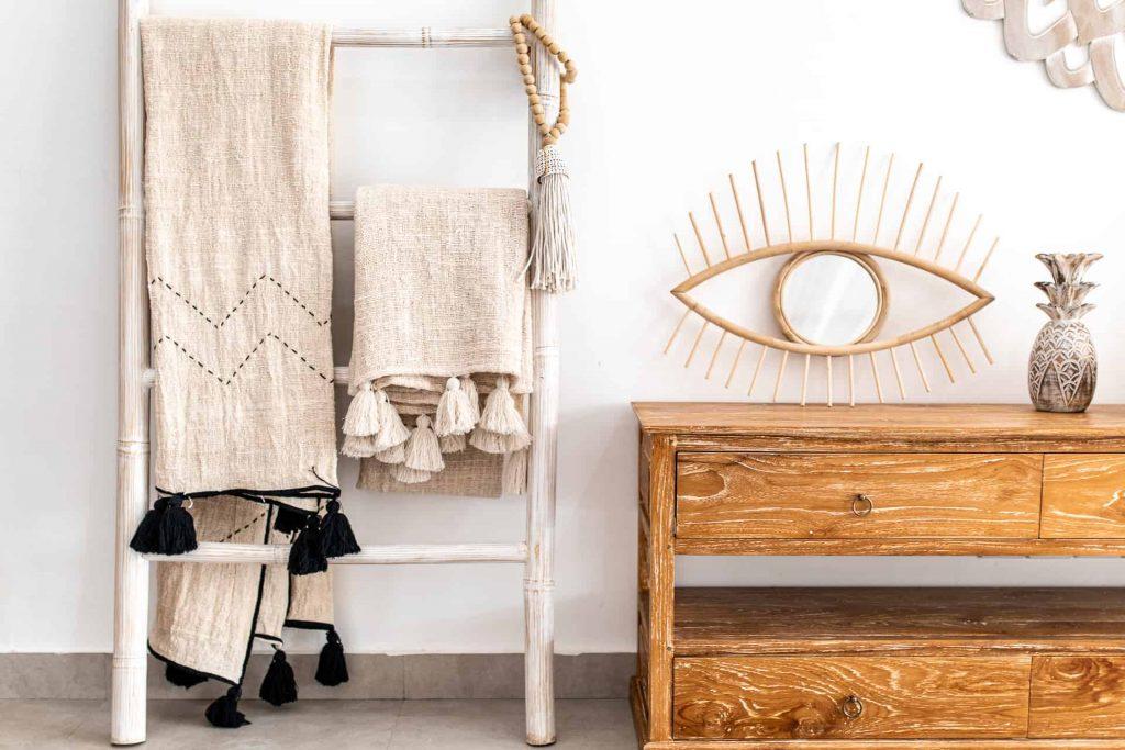 naturalny koc zsurowej bawełny wstylu BOHO
