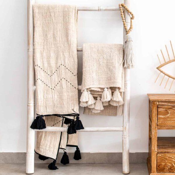 naturalny koc z surowej bawełny w stylu BOHO