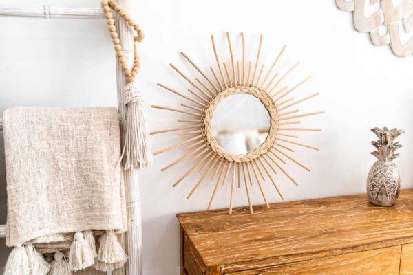 Ręcznie robione lustro z rattanu słońce