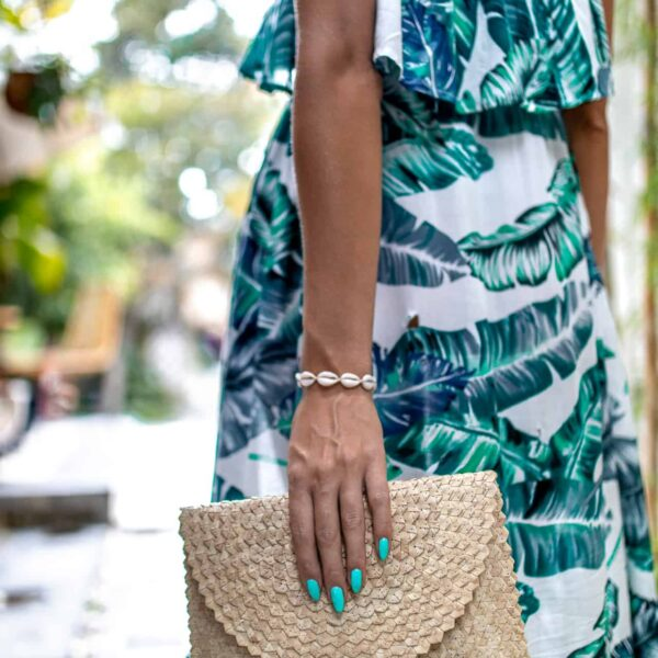 Damska torebka kopertówka słomkowa z Bali