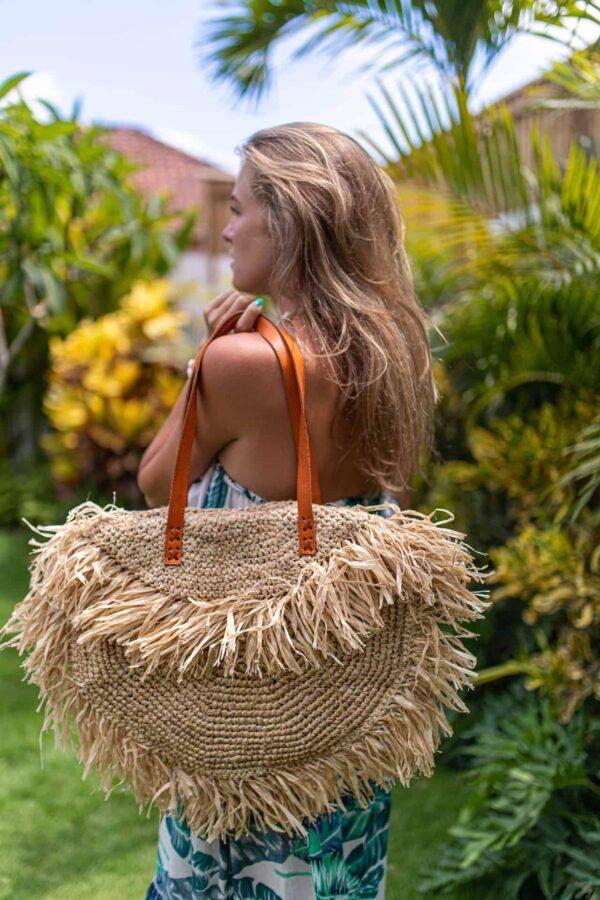 Duża torebka słomkowa damska wykonana z rafii