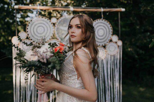 makrama pleciona ze sznurka na ślub