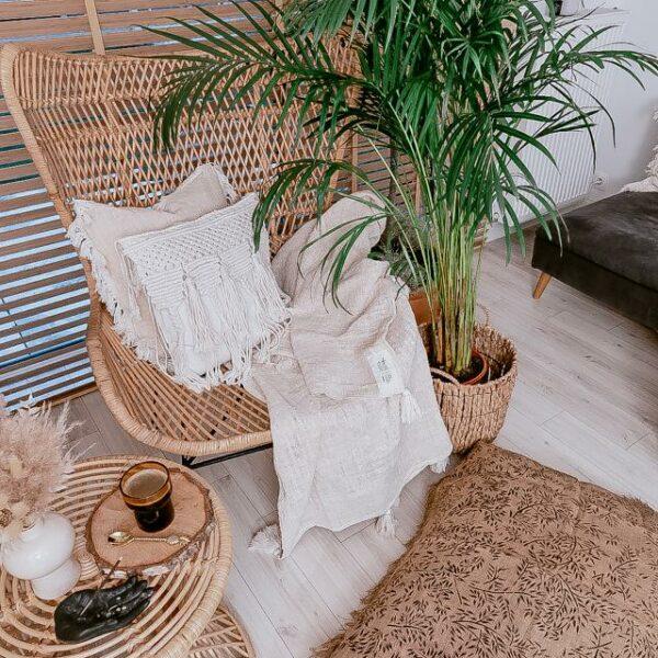 poszewka na poduszke z juty siedzisko