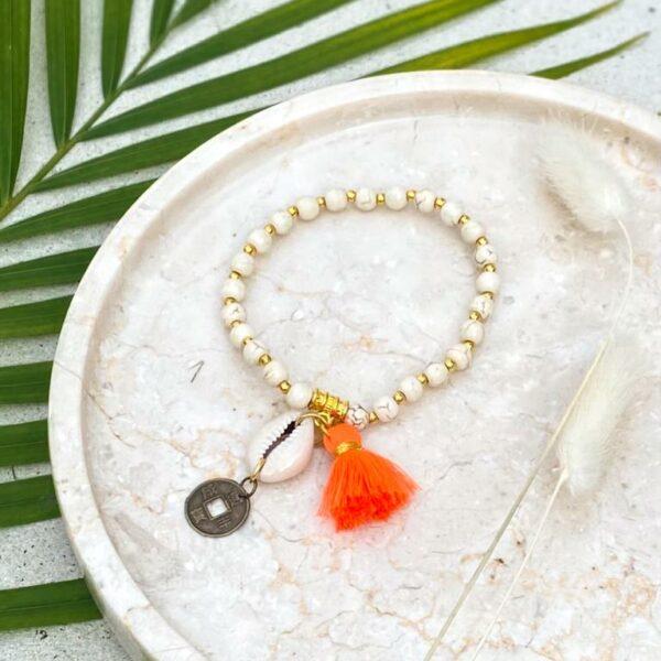 bransoletka z frędzlami pomarańczowa