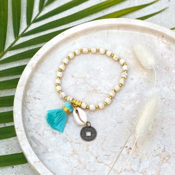 bransoletka z frędzlami niebieska