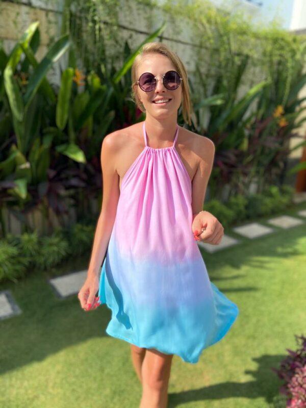 krótka sukienka w pastele