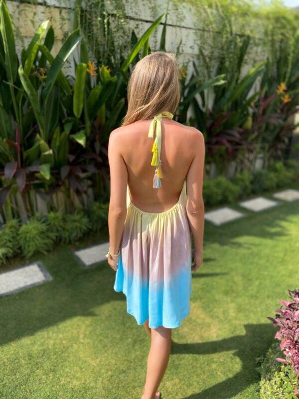 sukienka z frędzlami tie dye