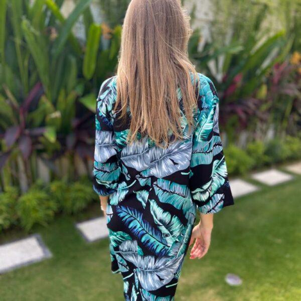 sukienka kimonowa liście