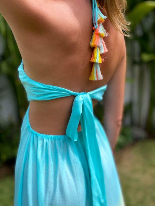 sukienka frędzle tęczowa