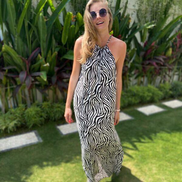 sukienka boho długa zebra